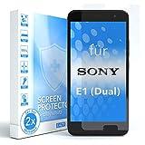 EAZY CASE 2X Panzerglas Bildschirmschutz 9H Festigkeit für Sony Xperia E1 (Dual), nur 0,3 mm dick I Schutzglas aus gehärteter 2,5D Panzerglasfolie, Bildschirmschutzglas, Transparent/Kristallklar
