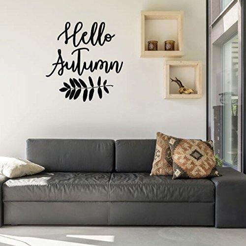 Amazon Com Fall Wall Decal Hello Autumn Vinyl Decor For Living Room Family Room Or Home Decoration Handmade