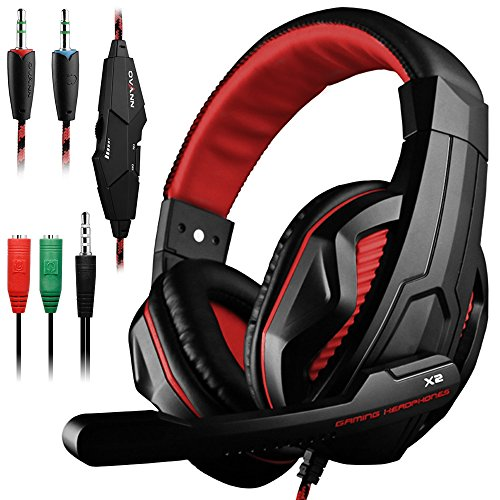 Gaming Headset, DLAND 3.5mm Wired Basse Bruit stéréo Isolation Gaming Casque avec Micro pour Ordinateur Portable, téléphone Portable, PS4 et contrôle du Volume afin on- (Noir et Rouge)