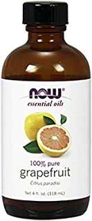 Now Essential Oils, Grapefruit Oil, Sweet Citrus Aromatherapy Scent, Cold Pressed, 100% Pure, Vegan, 4-Ounce