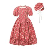 Nuoqi Pioneer Girls Costume Kids Child Prairie Colonial Pilgrim Costumes Laura Ingalls Wilder Dress Red Size 6-7Y