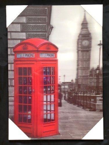 The Home Fusion Company London 3D Image Plaque Old Londres Cabine Téléphone Rouge & Big Ben en Fond