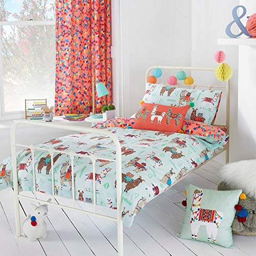 Riva Paoletti Kids Llamarama Single Duvet Cover Set - Multicolour Mint Green - Reversible Llama Design - 1 x Pillowcases Included - PolyCotton - Machine Washable - 137 x 200cm (54' x 79' inches)