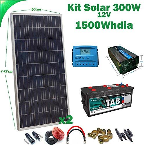 Kit Solar 12v 300W/1500W día Regulador de carga PWM 20A Inversor 1000w onda pura con...