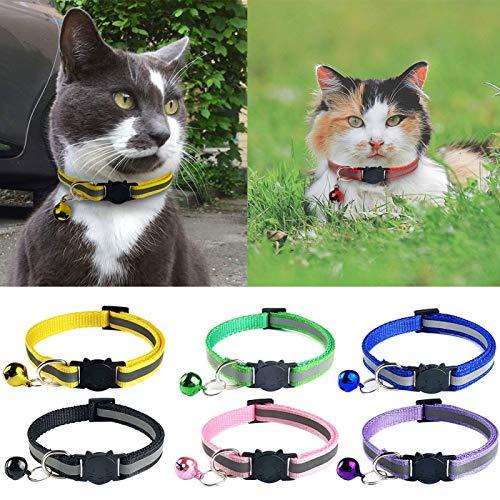 Collar de mascota, perrito reflectante perro gato collar ajustable liberación hebilla cuello correa suministro de mascotas - verde fluorescente