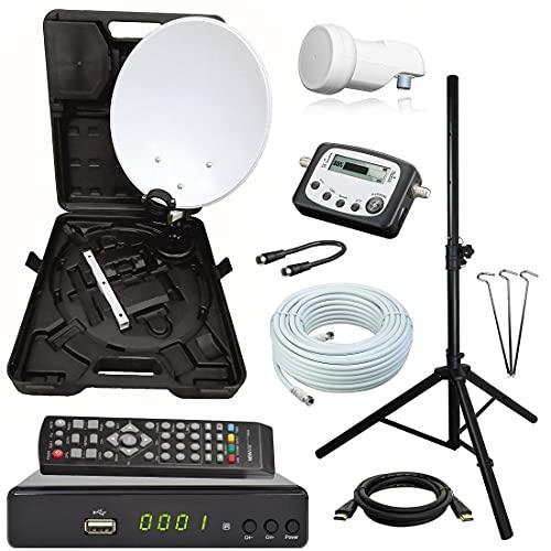 netshop 25 Camping SAT Koffer Schüssel mit HD Receiver, Single LNB und 10m Kabel + Digital SAT-Finder + Dreibein Stativ (Mobile Sat Anlage 1 Teilnehmer) Set