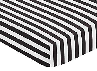 Fitted Crib Sheet for Paris Baby or Toddler Bedding by Sweet Jojo Designs - Black and White Stripe