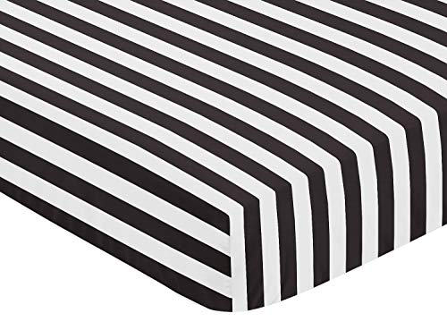 Fitted Crib Sheet for Paris Baby or Toddler Bedding by Sweet Jojo Designs – Black and White Stripe