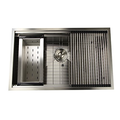 Nantucket Sinks ZR-PS-3220-16 Pro Series Large Prep Station Single Bowl Undermount Stainless...