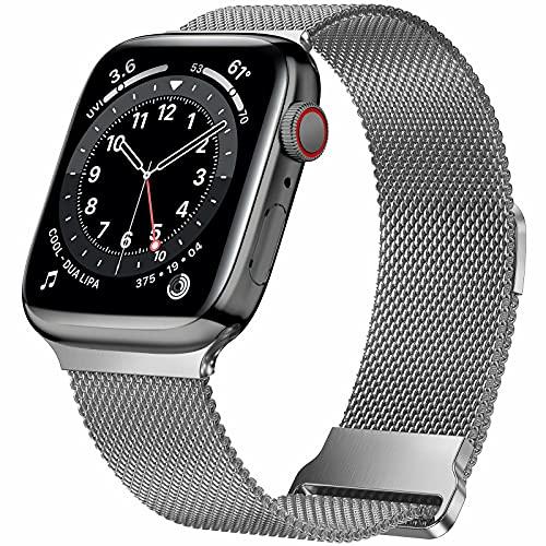 HILIMNY Cinturino in metallo compatibile con cinturino Apple Watch 42mm 44mm, cinturino ricambio in maglia acciaio inossidabile a due sezioni per serie IWatch 6/5/4/3/2/1/SE, grigio siderale 42/44mm