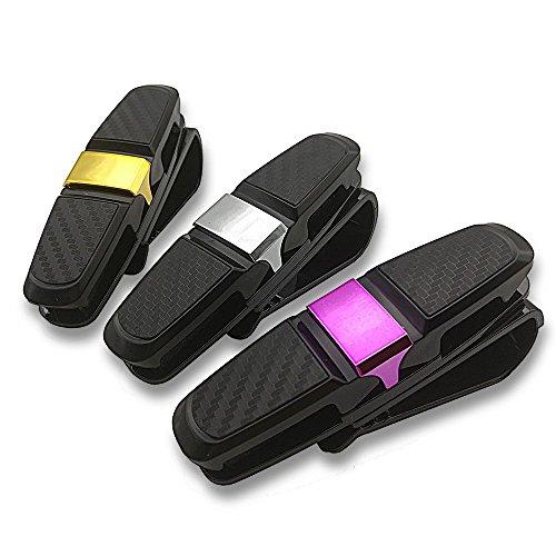 CNYMANY - Juego de 3 soportes para gafas de sol dobles para visera de coche, clips para gafas de coche, para guardar gafas, tarjetas, boletos, color negro + plata, rosa, dorado