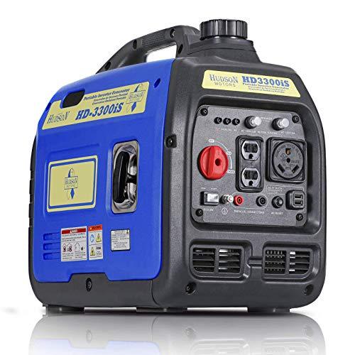 Hudson Motors 3300-Watt Super Quiet Portable Inverter Generator, Gas Powered, EPA Compliant,...