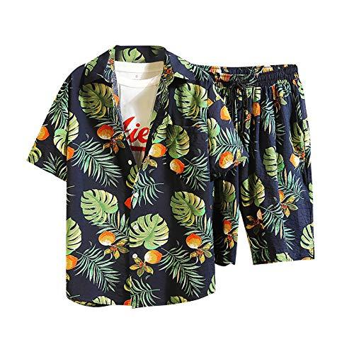 Shirt Set T-Shirt Top Zweiteiliger Anzug Herren Lässig Bedruckte Shorts mit Kordelzug (Top + Hose) (XXL,1marine)