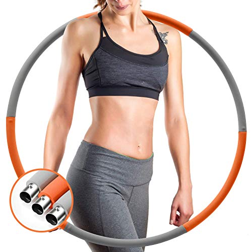 IENIN Weighted Hoop Exercise Hoop TIK Tok Fitness Hoop Detachable and Weight Adjustable Design Figure Fitness Hoop Fat Burning Healthy Sports Life Home Workout for Woman and Man