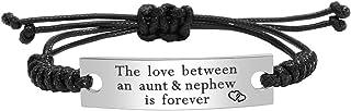 Kisseason Stainless Steel Aunt Uncle and Niece Nephew Bracelet Mantra Jewelry