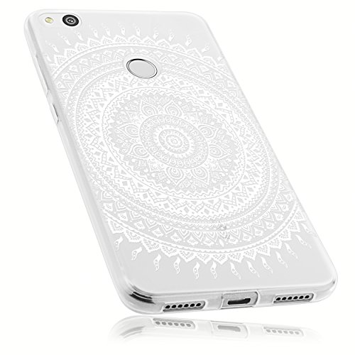 mumbi Hülle kompatibel mit Huawei P8 Lite 2017 Handy Case Handyhülle mit Motiv Mandala weiss, transparent
