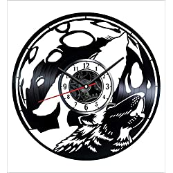 Howling Wolf Vinyl Wall Clock Vintage Record - Get Unique Home and Office Decor Bedroom Kitchen Kids Living Room - Gifts for Men Women Kids Father Mother - Wall Art Design - Free Personalization