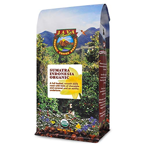 Java Planet - Sumatra Indonesian USDA Organic, Fair Trade Coffee Beans, Dark Roasted, Fair Trade, Arabica Gourmet Specialty Grade A - 1lb bag