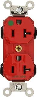 Leviton M8300-R Lev-Lok Modular Wiring Device 20-Amp, 125 Volt, Wide Body Duplex Receptacle, Straight Blade, Hospital Grade, Self Grounding, Red