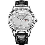 BUREI Classic día y Fecha Unisex Reloj con números Romanos y Negro Dial de Banda marrón (Blanco-Negro)