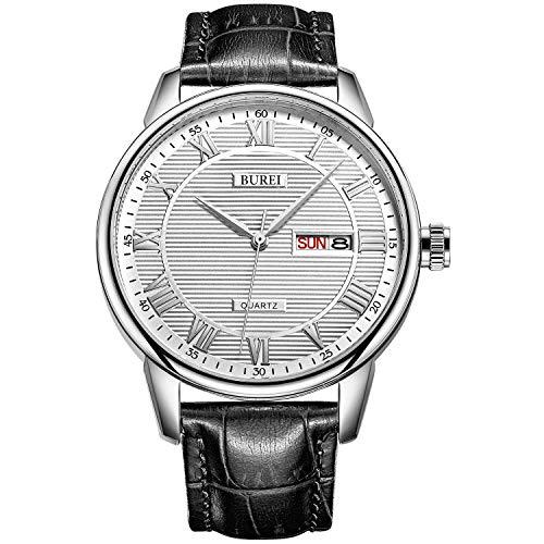 BUREI Uhren Herren Einfach klassisch Quarz Armbanduhren Weiß-dial Datumsanzeige römischen Schwarz Ziffern Lederband