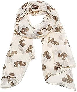 JIAN YA NA Fashion Lightweight Viscose Cute Squirrel Print Scarf (Beige)