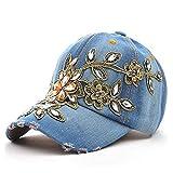 Sombrero de moda Gorra de béisbol de algodón de las mujeres Brillante Flor de diamante Flor Dama Rhi...