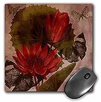 3droseヴィンテージ花と蝶–マウスパッド、8× 8インチ(MP 99178_ 1)