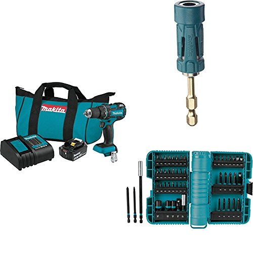 """Makita XFD061 18V LXT Lithium-Ion Compact Brushless Cordless 1/2"""" Driver Drill Kit (3.0Ah) with B-35097 Impact GOLD Ultra-Magnetic Torsion Insert Bit Holder with A-98348 ImpactX 50 Pc. Driver Bit Set"""