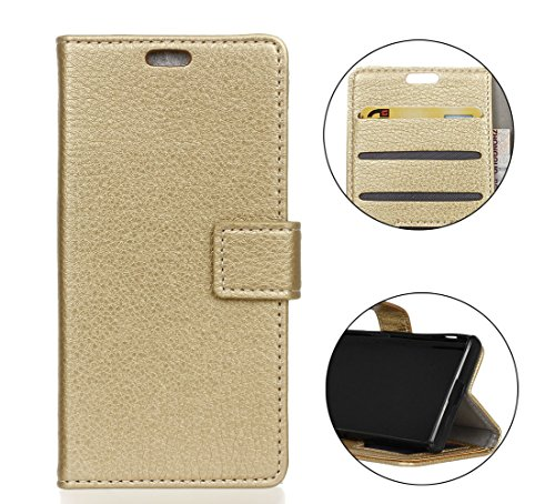 Sunrive Hülle Für Wiko Tommy 3, Magnetisch Schaltfläche Ledertasche Schutzhülle Hülle Handyhülle Schalen Handy Tasche Lederhülle(Litchi golden)+Gratis Universal Eingabestift