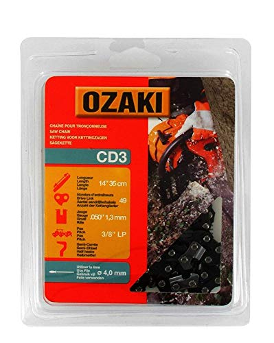 Ozaki - Cadena de motosierra, semicuadrada, bajo casco: 3/8'LP – .050 (1,3 mm) – 54 entrenadores – Longitud: 16 pulgadas / 40 cm
