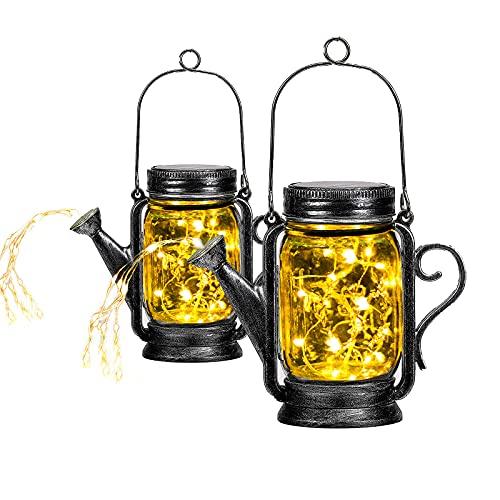2 Stück Solarlampen Fur Garten Balkon Deko Garten Solarleuchten Für Außen Hängend Mit String Lichtern Wasserdicht Sonnenglas Lantern Solar Einmachglas Aussen Lampions Lichterkette