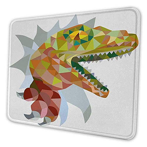 Reptile Ergonomic Mouse Pad Colorful Mosaic Wild Trex Illustration Opens Mouth Jurassic Pixel Dinosaur Decor Inspirational Mouse Pad for Women Multicolor 8x10x0.08 inches