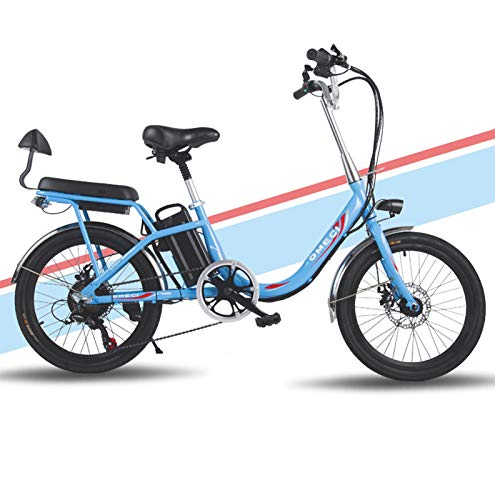 Ebike e-Bike, Frauen Elektro-Bikes, 20-Zoll-Mini elektrisches Fahrrad 7-Gang Getriebe Getriebe 48V 8 / 10Ah-Batterie pendelt Ebike mit Rear Seat Dual-Scheibenbremsen