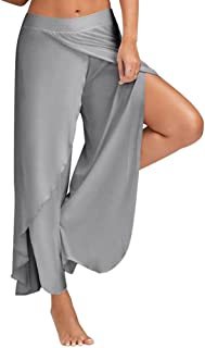 a53ca5b770d7fb RUEWEY Women Wide Legs Yoga Harem Pants Casual Flowy Palazzo Trousers