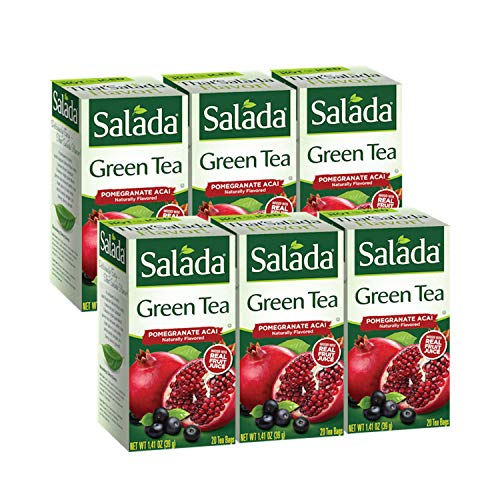 Salada Pomegranate Acai Green Tea, 120 Individually Wrapped Tea Bags (Pack of 6)