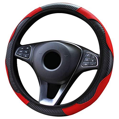 Liwein Funda Volante Coche Cubierta de Volante de Cuero de Microfibra Antideslizante Transpirable Durable Cubierta del Volante del Automóvil Universal 38 cm (Negro-Rojo)