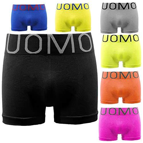 UOMO Boxershorts Seamless Pants Unterhosen Boxer Shorts Schwarz Unterhose Nahtlose Boxershorts Neonfarben Mikrofaser Sport 6 / 12 / 18 / 24er Pack (12er Pack, M/L)
