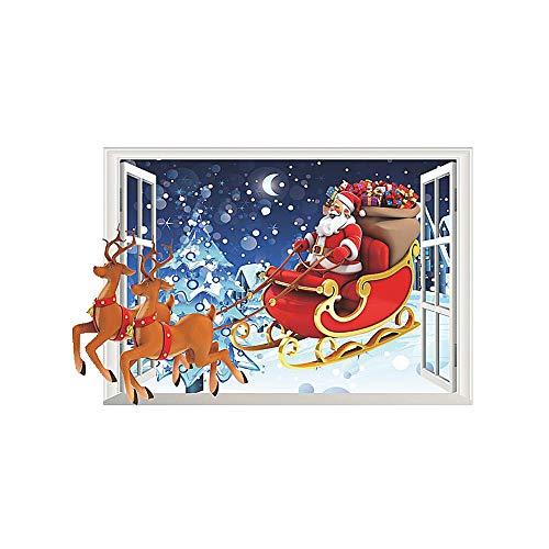 Pegatinas para ventana de Navidad, pegatinas de pared de Navidad, pegatinas de ventana de invierno, Papá Noel artificial en 3D, pegatinas de pared, decoración de Navidad
