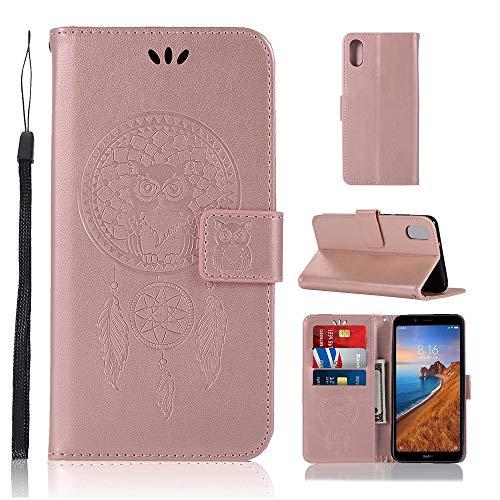 Zchen Xiaomi Redmi 7A Hülle, Kunstleder Portemonnaie Handy-Schutzhülle Book Flip Design Klapphülle Etui Tasche für Xiaomi Redmi 7A (Eule-Rose Gold)