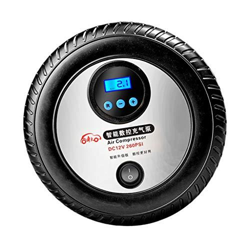 IPOTCH Inflador de Neumáticos LED Negro Compresor de Aire Bomba Coche Digital 12 Voltios Portable 260PSI