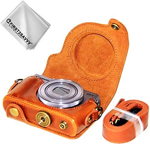 First2savvv braun Premium Qualität Ganzkörper- präzise Passform PU-Leder Kameratasche Fall Tasche Cover für Canon PowerShot G9 X Mark II. G9X MK2 G9X - XJD-G9XMkII-09G11