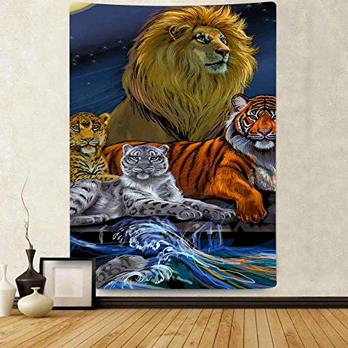 JXWR Tapiz de Bosque Rey León Animal Tigre Leopardo montado en la Pared Sala de Estar Dormitorio Tapiz Manta Decorativa 101X152