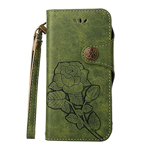 Custodia LG G6, COOSTOREEU Retro Embossed Roses Magnetic Slotted Wallet Case+ Cinghia di Polso Smontabile Progettazione per LG G6 2017, Verde