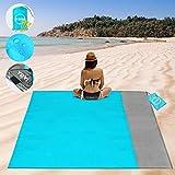 YOYI manta de playa libre de arena de poliéster 210T, impermeable a prueba de arena para 2 – 7 adultos, manta de bolsillo ligera de 53.9 x 63.8 in, para viajes, camping, senderismo, festivales de música