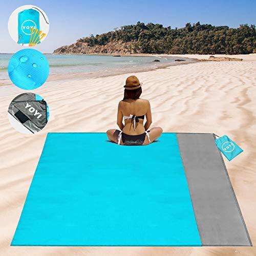 YOYI Alfombra de Playa Esterilla Playa,Manta Picnic Impermeable, Manta de Picnic Playa Resistente al Agua 210 X 175cm, con 4 Clavos fijos,Apto para Playa, Viajes, Camping (Blue)