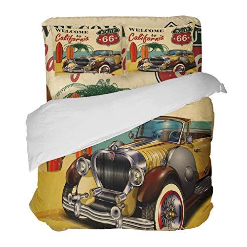 SUPERQIAO Retro American Car Route 66 Coastal Beach 3 Pieces Duvet Cover Set with Decorative 2 Pillow Shams Bedspread Bed Sheets