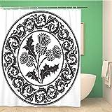 Awowee Decor Duschvorhang Distel Blumen & r&es Blatt das Symbol von Schottland 180 x 180 cm Polyester Stoff wasserdicht Badvorhänge Set mit Haken für Badezimmer