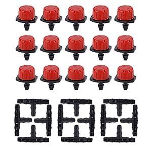 JNCH 50 Pcs Goteros para Riego Cabeza para riego por Goteo + 50 Pcs Conector para Tubo de riego por Goteo de 4/7mm – Kit…