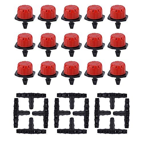 50 Stück Einstellbare Tropfer + 50 Stück T-Steckverbinder Tropf Sprinkler Kunststoff Pflanzen Garten Tropfbewässerung Werkzeug